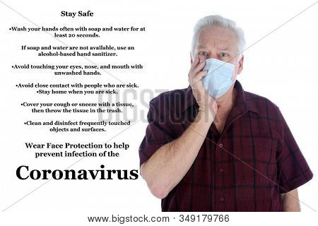 Wuhan China Coronavirus outbreak. 2019 Novel Coronavirus. 2019-nCoV. A man wearing a paper face mask is worried about the Coronavirus from Wuhan China. Isolated on white. Room for text. Clipping Path.