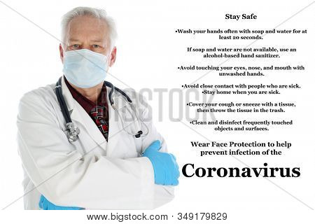 Wuhan China Coronavirus outbreak. 2019 Novel Coronavirus. 2019-nCoV. A Doctor wearing a face mask is warning about the Coronavirus from Wuhan China. Isolated on white. Room for text. Clipping Path.