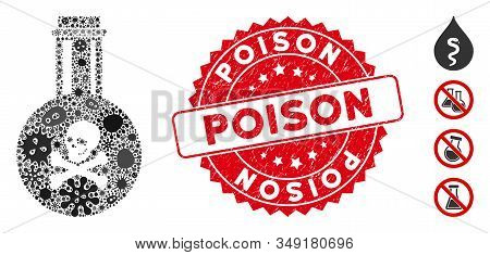 Virus Mosaic Poison Icon And Round Corroded Stamp Seal With Poison Phrase. Mosaic Vector Is Formed W