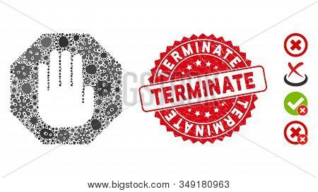 Contagion Mosaic Terminate Icon And Rounded Rubber Stamp Seal With Terminate Phrase. Mosaic Vector I