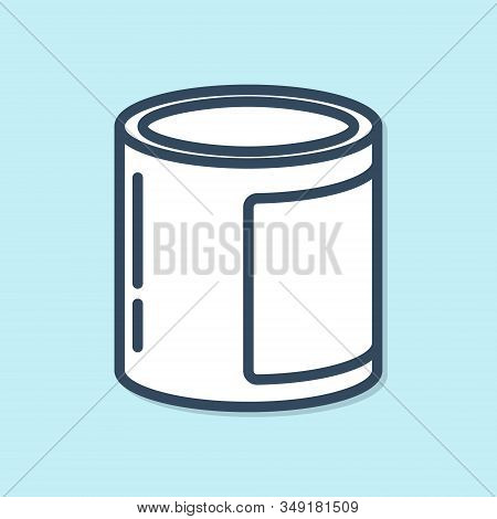 Blue Line Canned Food Icon Isolated On Blue Background. Food For Animals. Pet Food Can. Vector Illus