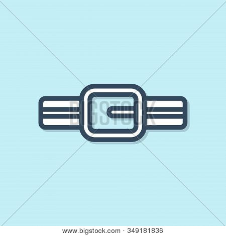 Blue Line Collar With Name Tag Icon Isolated On Blue Background. Simple Supplies For Domestic Animal