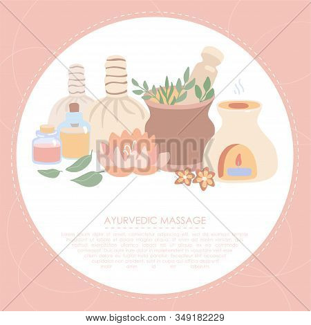 Vector Illustration Ayurveda In Trendy Flat Style. Wellness, Aromatherapy, Spa Card Or Flier Design.