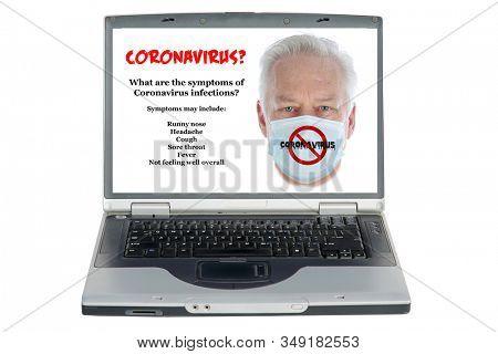 Coronavirus. 2019 Novel Coronavirus (2019-nCoV), Wuhan, China. Coronavirus on a Laptop Computer monitor with information. Isolated on white. Clipping Path. Room for text. Coronavirus is dangerous.