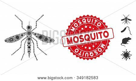 Virus Collage Mosquito Icon And Rounded Corroded Stamp Seal With Mosquito Phrase. Mosaic Vector Is C