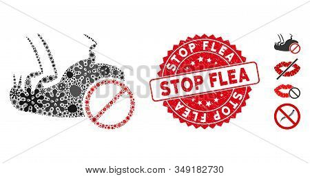 Infectious Mosaic Stop Flea Icon And Rounded Corroded Stamp Seal With Stop Flea Phrase. Mosaic Vecto