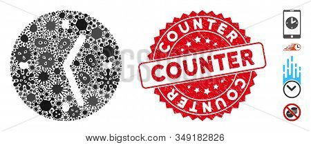 Infectious Collage Clock Icon And Rounded Rubber Stamp Watermark With Counter Phrase. Mosaic Vector