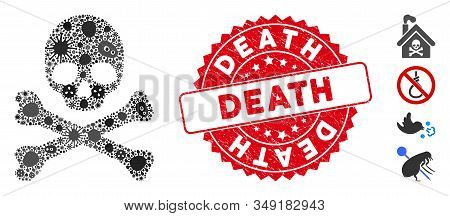 Outbreak Mosaic Death Icon And Rounded Grunge Stamp Seal With Death Phrase. Mosaic Vector Is Created