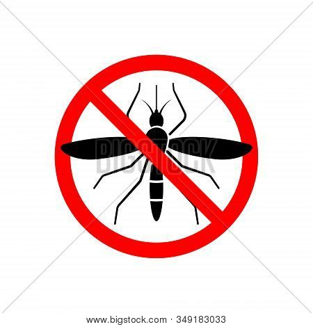 Mosquito Stop Sign Icon Isolated Vector Illustration
