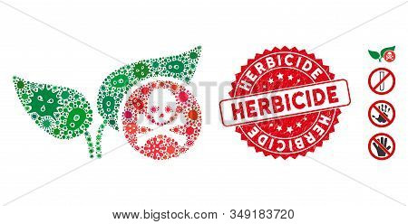 Contagion Collage Herbicide Icon And Round Rubber Stamp Watermark With Herbicide Text. Mosaic Vector