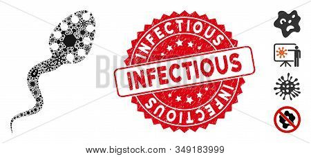 Microbe Mosaic Infectious Icon And Round Grunge Stamp Watermark With Infectious Phrase. Mosaic Vecto