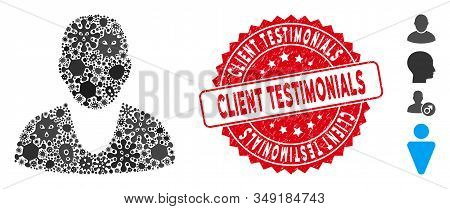 Pathogen Mosaic Client Icon And Round Rubber Stamp Seal With Client Testimonials Text. Mosaic Vector