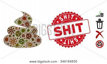 Pathogen Mosaic Shit Icon And Rounded Corroded Stamp Seal With Shit Caption. Mosaic Vector Is Design