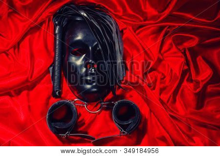 Bondage, Kinky Adult Sex Games, Kink And Bdsm Lifestyle Concept With A Mask, Pair Of Leather Handcuf
