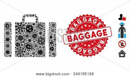 Infectious Mosaic Baggage Icon And Rounded Distressed Stamp Watermark With Baggage Phrase. Mosaic Ve