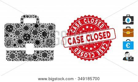 Pandemic Collage Case Icon And Round Grunge Stamp Watermark With Case Closed Caption. Mosaic Vector