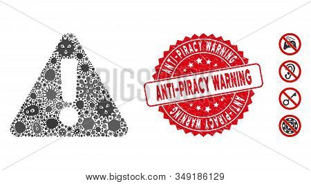 Fever Mosaic Warning Icon And Round Rubber Stamp Seal With Anti-piracy Warning Caption. Mosaic Vecto