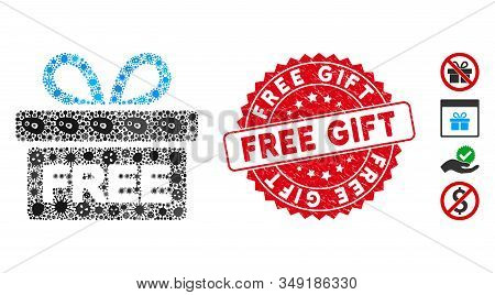 Flu Mosaic Free Gift Icon And Rounded Distressed Stamp Watermark With Free Gift Caption. Mosaic Vect