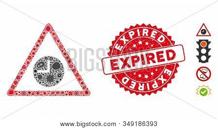 Flu Mosaic Expired Warning Icon And Rounded Rubber Stamp Seal With Expired Phrase. Mosaic Vector Is