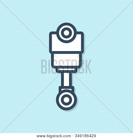 Blue Line Engine Piston Icon Isolated On Blue Background. Car Engine Piston Sign. Vector Illustratio