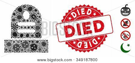 Infected Mosaic Grave Icon And Round Distressed Stamp Seal With Died Text. Mosaic Vector Is Composed