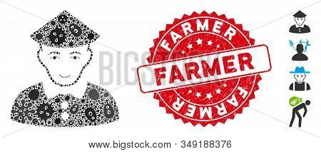 Pathogen Mosaic Chinese Farmer Icon And Round Rubber Stamp Seal With Farmer Phrase. Mosaic Vector Is