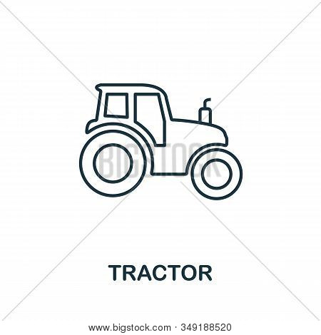 Tractor Icon. Thin Line Style Element From Farm Icons Collection. Outline Tractor Icon For Computer