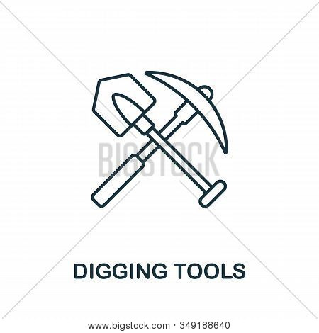 Digging Tools Icon. Thin Line Style Element From Farm Icons Collection. Outline Digging Tools Icon F
