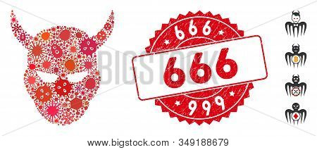 Infectious Collage Daemon Head Icon And Round Corroded Stamp Watermark With 666 Caption. Mosaic Vect
