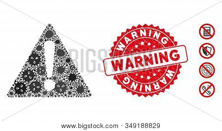 Pandemic Mosaic Warning Icon And Round Rubber Stamp Seal With Warning Text. Mosaic Vector Is Formed