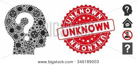 Outbreak Mosaic Unknown Icon And Round Grunge Stamp Seal With Unknown Text. Mosaic Vector Is Created