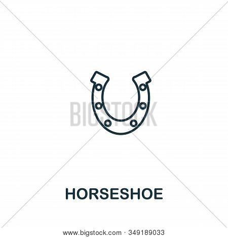 Horseshoe Icon. Thin Line Style Element From Farm Icons Collection. Outline Horseshoe Icon For Compu
