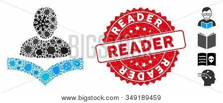 Virus Mosaic Book Reader Icon And Round Rubber Stamp Watermark With Reader Phrase. Mosaic Vector Is