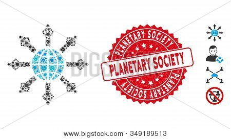 Virus Mosaic Planetary Society Icon And Rounded Corroded Stamp Seal With Planetary Society Phrase. M