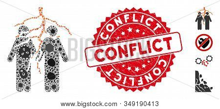 Pandemic Mosaic Firend Conflict Icon And Rounded Distressed Stamp Seal With Conflict Phrase. Mosaic