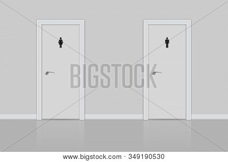 Toilet Doors For Male And Female. White Restroom Doors With Wall