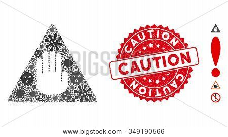 Viral Mosaic Caution Icon And Rounded Rubber Stamp Watermark With Caution Text. Mosaic Vector Is Des