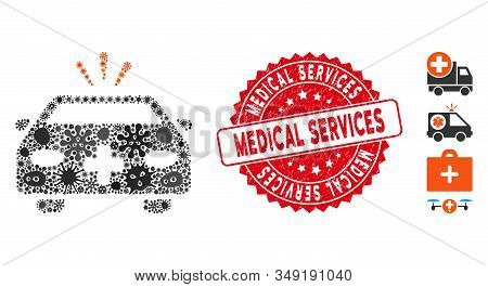 Contagious Mosaic Emergency Car Icon And Rounded Corroded Stamp Seal With Medical Services Caption.