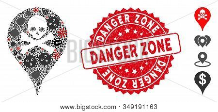 Pathogen Mosaic Danger Zone Map Marker Icon And Round Distressed Stamp Watermark With Danger Zone Ph