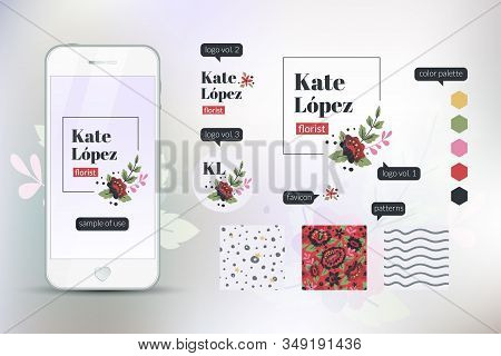Florist Minimal Branding Design Kit. Responsive, Cross-platform Design With Three Logo Options And S
