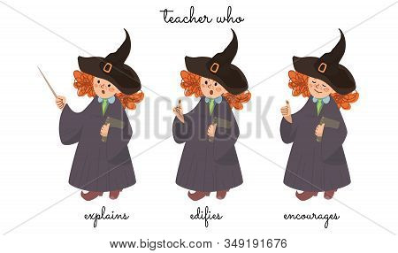 A Teacher Miss Sorceress That Explains, Censures, And Encourages. Vector On White Background.