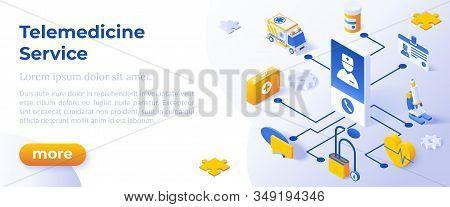 Telemedicine - Isometric Design In Trendy Colors. Isometrical Icons On Blue Background. Illustration