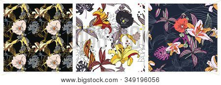 Set Of Original Trendy Seamless Artistic Flower Pattern, Beautiful Tropical Floral Exotic Background