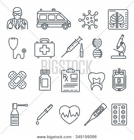 Medical And Healthcare Line Icons Set Like Doctor, Health Treatment, Coronavirus, Blood Transfusion,