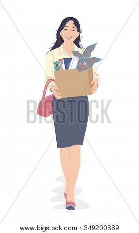 Happy Young Business Woman Quit Her Job In Office. Smiling Beautiful Girl Carrying A Box Of Personal