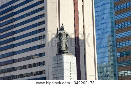 Seoul, Republic of Korea - March 2019: Statue of Admiral Yi Sun Shin