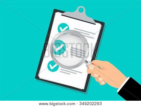 Checklist Clipboard And Hand Holding Magnifying Glass. Illustration Of Search Concept With Check Lis