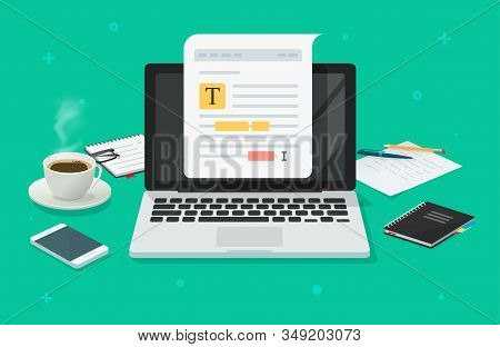 Text File Or Document Content Editing Online On Laptop Computer On Working Desk Table Vector Flat Ca
