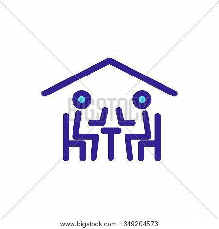 Friends Of The Cafe Icon Vector. Thin Line Sign. Isolated Contour Symbol Illustration