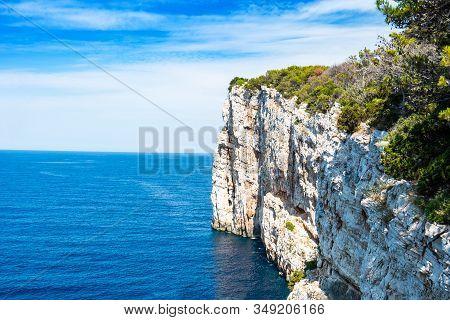 Croatia, Adriatic Sea, Big Cliffs Above The Sea On The Shore Of Nature Park Telascica, Island Of Dug
